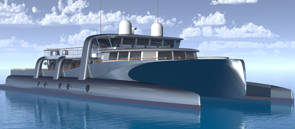 130' Wave piercer - Free in the sea Explorer